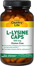 Country Life L-lysine 500 mg with Vitamin B6-250 Vegetarian Capsules - Promotes Collagen and Tissue Renewal - Aids Utilization - Gluten-Free