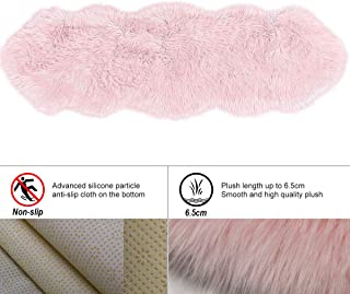 HLZHOU New 2019 Upgraded Non-Slip Faux Fur Rug, Fluffy Rug, Shaggy Rugs,Faux Sheepskin Rugs Floor Carpet for Bedrooms Living Room Kids Rooms Decor (2x5.3 Feet(60 x 160cm), Double Shape Pink)