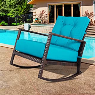 Outroad Rocking Wicker Chair Blue Lounge Chair with Thick Cushion for Outdoor, Porch, Garden, Backyard or Pool
