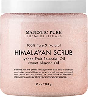 Majestic Pure Himalayan Salt Body Scrub, All Natural Scrub to Exfoliate & Moisturize Skin, 10 oz