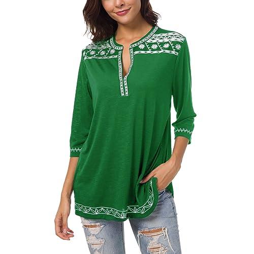 594b1c046c Women s 3 4 Sleeve Boho Shirts Embroidered Peasant Top