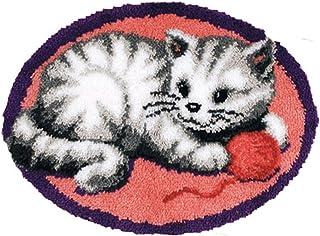 Tapis Broderie Kit, Loquet Broderie Point de Croix Kit, Coussin Sol Canapé Crochet Kit Tricot pour Enfant Adulte Debutant,...