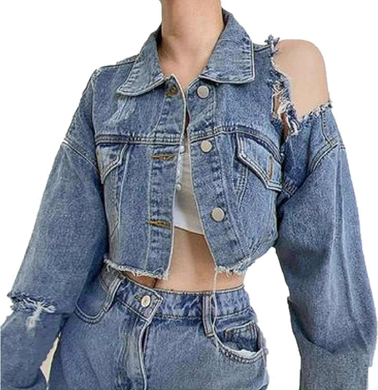 Women's Ripped Denim Jackets Casual Long Sleeve Frayed Jean Jacket Loose Boyfriend Jean Coats With Pockets