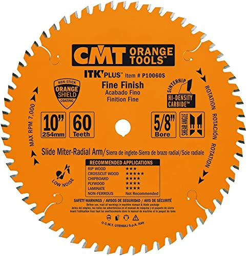 discount CMT online sale P10060S ITK Plus Finish Sliding Compound Saw Blade, 10 popular x 60 Teeth, 10° ATB+Shear with 5/8-Inch bore outlet online sale