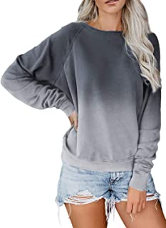 Women Long Sleeve Sweatshirt Colorblock Tie Dye Printed Pullover Tops(S-2XL)