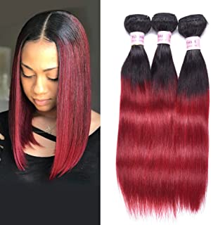 Top Hair Peruvian Ombre Burgundy Hair Extensions Black To Red Straight Weave Two Tone 3 Bundles 10 10 10 Inche Total 150 Gram