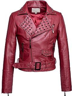 chouyatou Women's Moto Stylish Studded Cropped Faux Leather Biker Jacket Belt