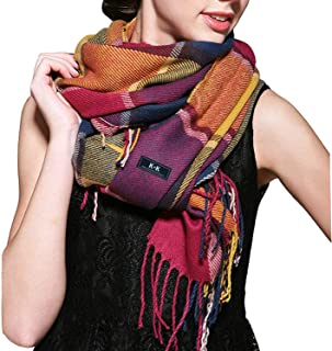 Women Tartan Scarf - Winter Long Scarves Plaid Warm Wraps Wool British Style For Ladies Spinning Tassel Shawl Long Stole