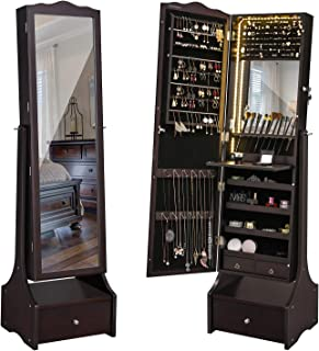SONGMICS 39.4'' LED Light Strip Jewelry Cabinet Armoire, Lockable Full Length Mirrored Jewelry Organizer, Makeup Tray and Large Drawer Base UJJC87BRV1