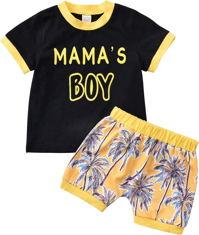 WALLARENEAR Kid Boy Shirt, Summer Shorts, Short Sleeve Round Collar Tree Printed Pullover Sports Pants