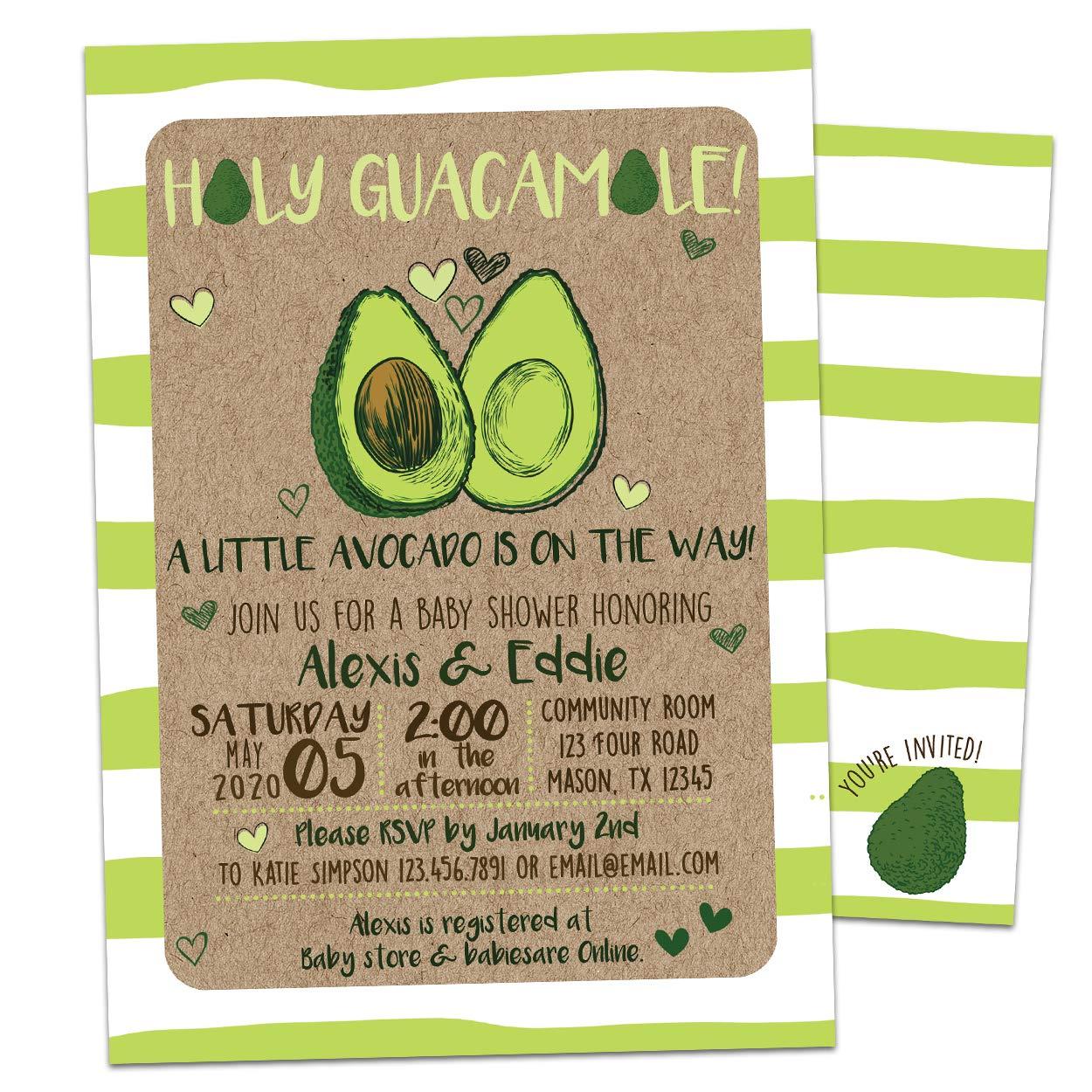 Avocado Invitation Holy Guacmole Baby Shower Br Classic High quality Invites Birthday