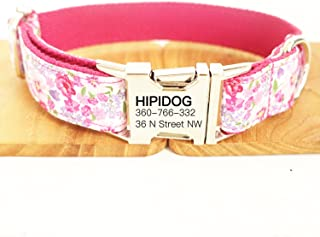 hipidog Personalized Dog Collar, Custom Engraving with Pet Name and Phone Number, Adjustable Tough Nylon ID Collar, Matchi...