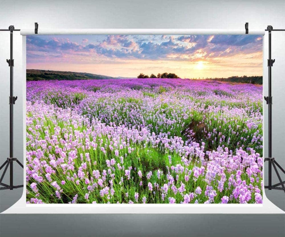 New Spring Background/Photography 7x5ft Polyester Photography Background Purple Flower Landscape Photo Backgrounds Outdoor Romantic Wedding Reception Backdrops Decor