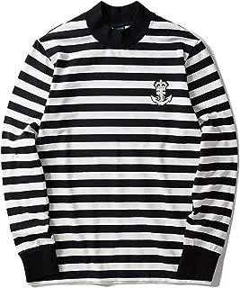 Men's Striped Long Sleeve Mock Neck Shirt