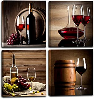 Red Wine Cups HD Modern 4 Pieces Stretched and Framed Abstract Giclee Canvas Prints Artwork Contemporary Vintage Pictures Paintings on Canvas Wall Art for Kitchen Home Decorations (12x12inchx4pcs)