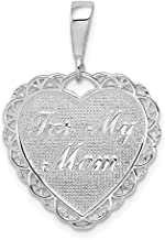 14k White Gold Reversible For My Mom Heart Pendant Charm Necklace Love S/love Message Fine Jewelry Gifts For Women For Her