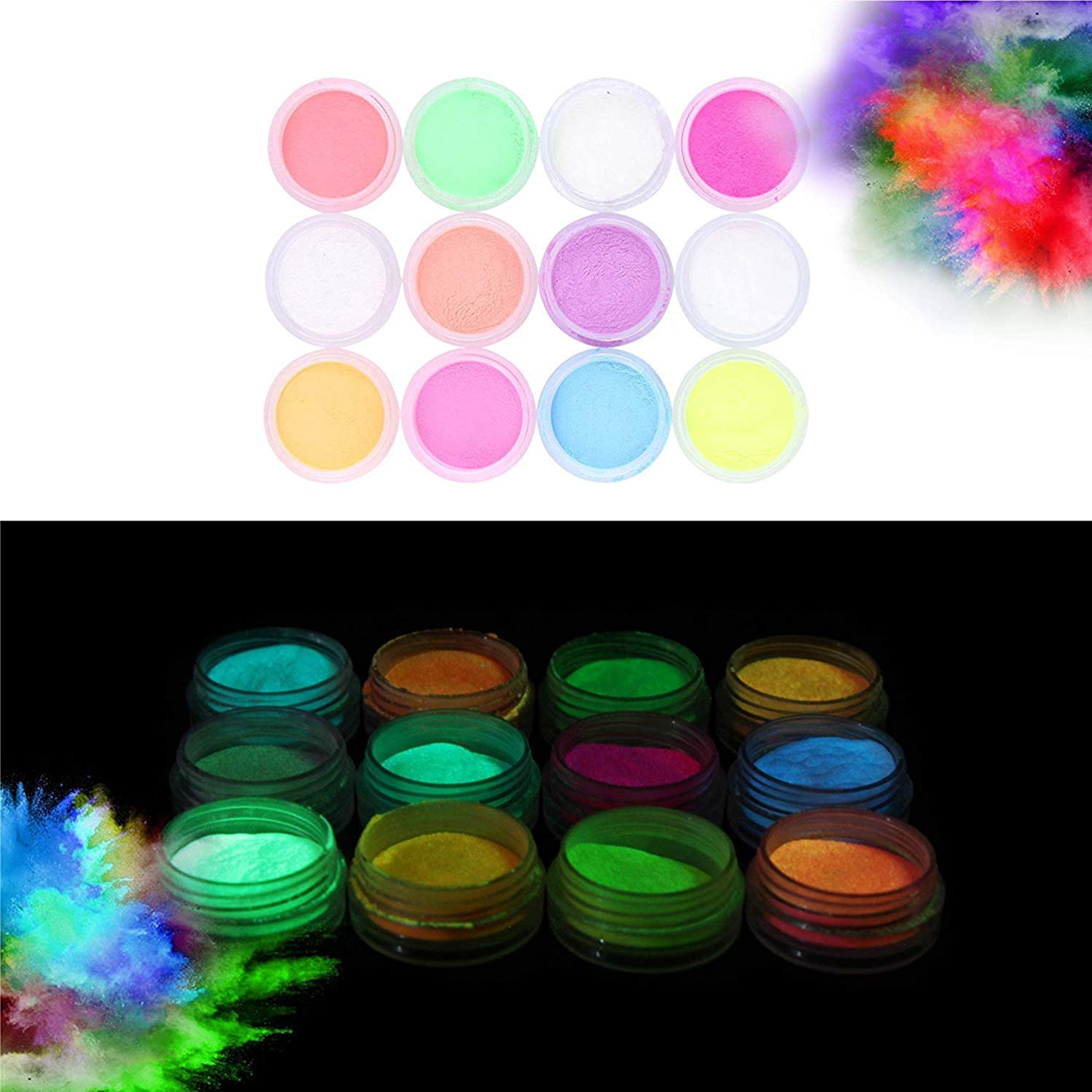 Glow in the Dark Powder –(Pack of 24) Luminous Pigment Powder Fluorescent UV Neon Color Changing luminescent Phosphorescent Thermochromic Dye Dust Glo for Slime Nails Resin Acrylic Paint Ink Non-Toxic