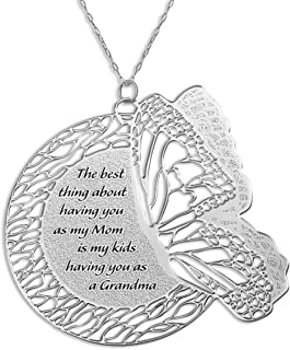 Caryn Rachel Designs Engraved Butterfly Necklace Gift for Grandma Jewelry   Artisan Jewelry for Women