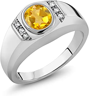 Gem Stone King Sterling Silver Oval Yellow Citrine & White Created Sapphire Men's Ring 1.16 cttw (Available 7,8,9,10,11,12,13)