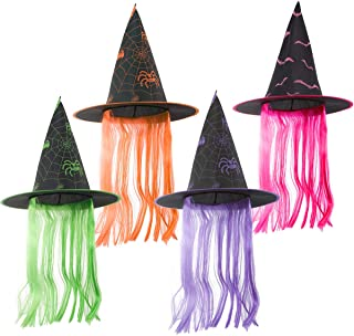 Cosweet Halloween Witch Hat with Hair-Steeple Cap Headwear for Adults Fancy Dress Cosplay Costume Party Carnival ( 4 Color)