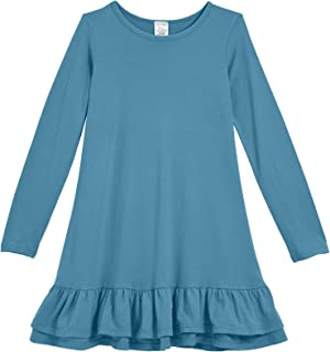 Girls Cotton Long Sleeve A-Line Ruffle Hem Dress for School Play