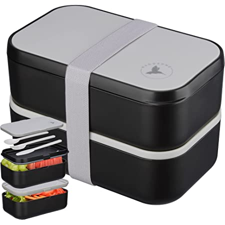 🍎NADOZONE®️ Lunch Box XXL - Bento 2000 ML pour Enfants/Adultes - Etanche Sans BPA - Boite Repas Compartiment Double avec Couverts & 2 Séparateurs - Micro-Ondes & Lave-vaisselle - Travail/école/voyage