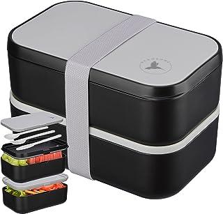 🍎NADOZONE®️ Lunch Box XXL - Bento 2000 ML pour Enfants/Adultes - Etanche Sans BPA - Boite Repas Compartiment Double avec ...