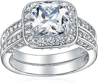 Bling Jewelry 2Ct Plaza Marquesa AAA Halo Brillante CZ Pave Juego De Anillo De Boda De Engrane De La Banda Establecida para Mujer 925