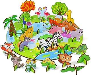yoptote Rompecabezas Niños Puzzles Infantiles 3D Puzzle de Madera 73 Piezas Bosque Animal Juguetes Montessori Educación Ap...