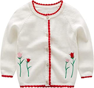 NOMSOCR Newborn Baby Girls Cardigans Round Neck Solid Knitted Sweaters Button-up Coats Outwear