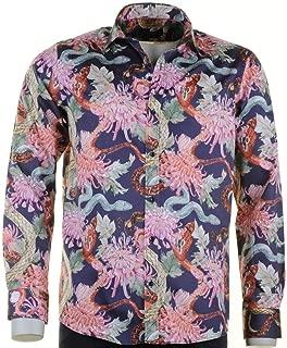 Men/'s Loud Shirt Retro Psychédélique Funky Party Coupe Ajustée Bleu Motif Floral