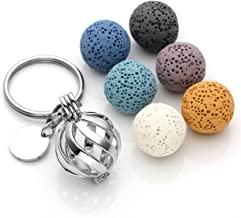 JOVIVI Custom Keychain - Personalized Twist Ball Locket Pendant Essential Oil Diffuser Keychain + 6 Lava Rock Stone Beads,Stainless Steel Key Ring