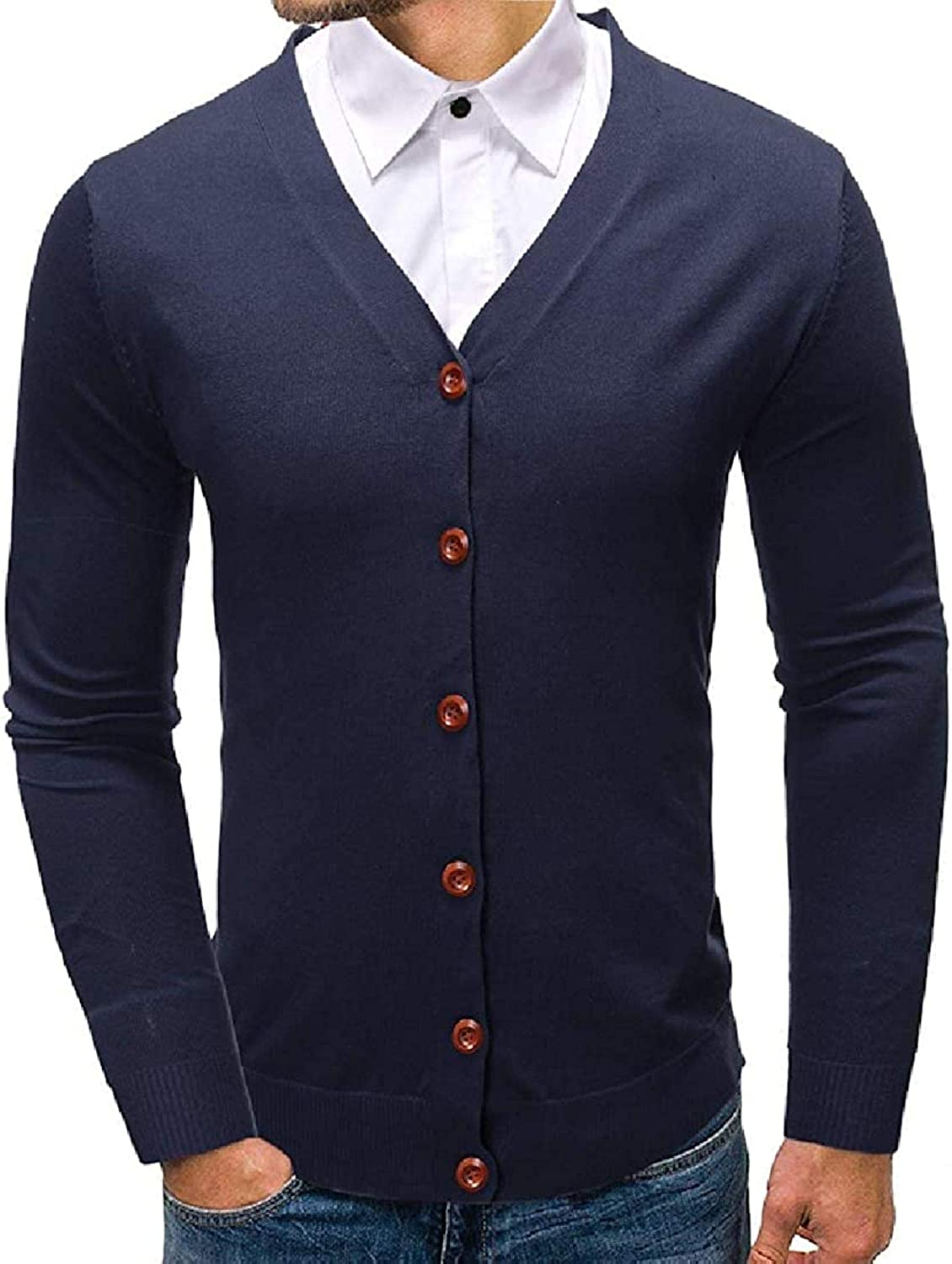 Men Button Down Classic V Neck Plain Slim Fit Knitted Cardigan Sweater,Navy,X-Large