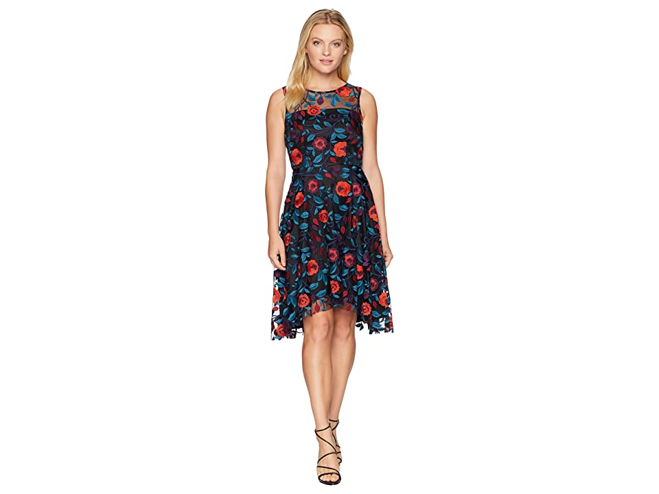 Tahari by ASL Petite Sleeveless Floral Novelty Embroidery Fit and Flare (Black/Teal/Red) Women