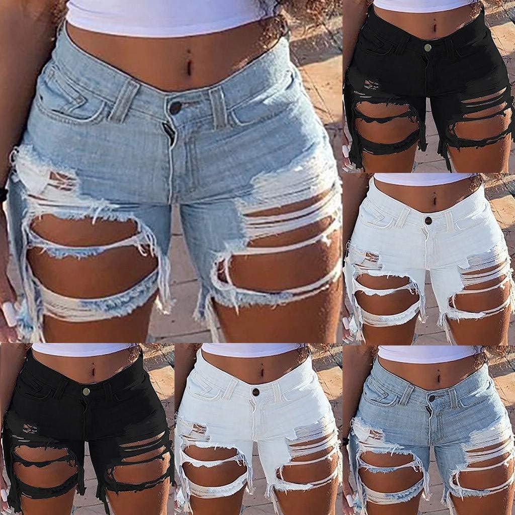 Denim Shorts for Women,Denim Shorts for Women Distressed Ripped Stretchy Frayed Raw Hem Hot Short Jeans