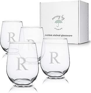 Monogrammed Stemless Wine Glasses Set of 4, Barware Glassware with Sandblasted Monograms, 17 oz Capacity Each (R)