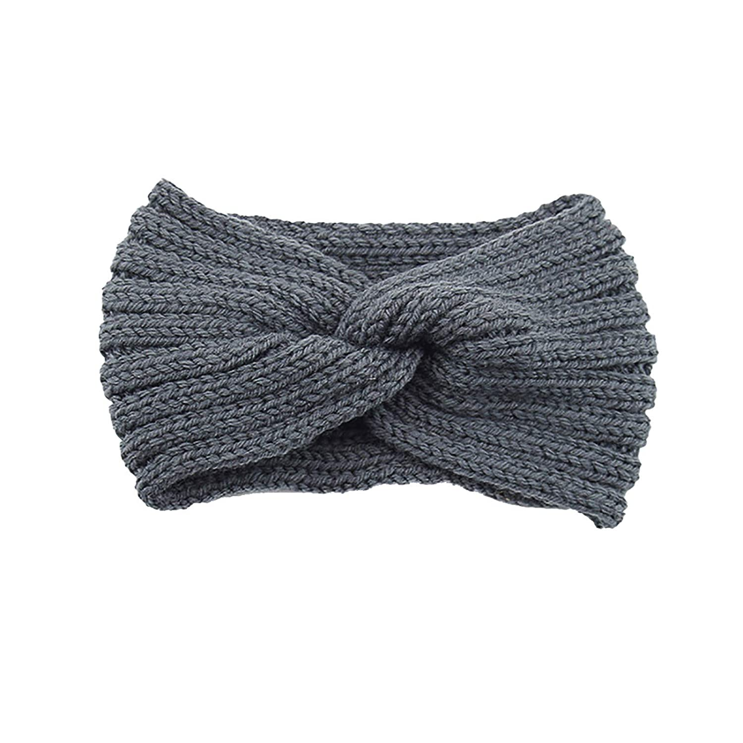 Thatso Winter Headbands for Women, Ear Warmer Headband with Buttons, Soft Stretchy Thick Cable Knitted Turban Hairband Gift (Dark Gray,One Size)