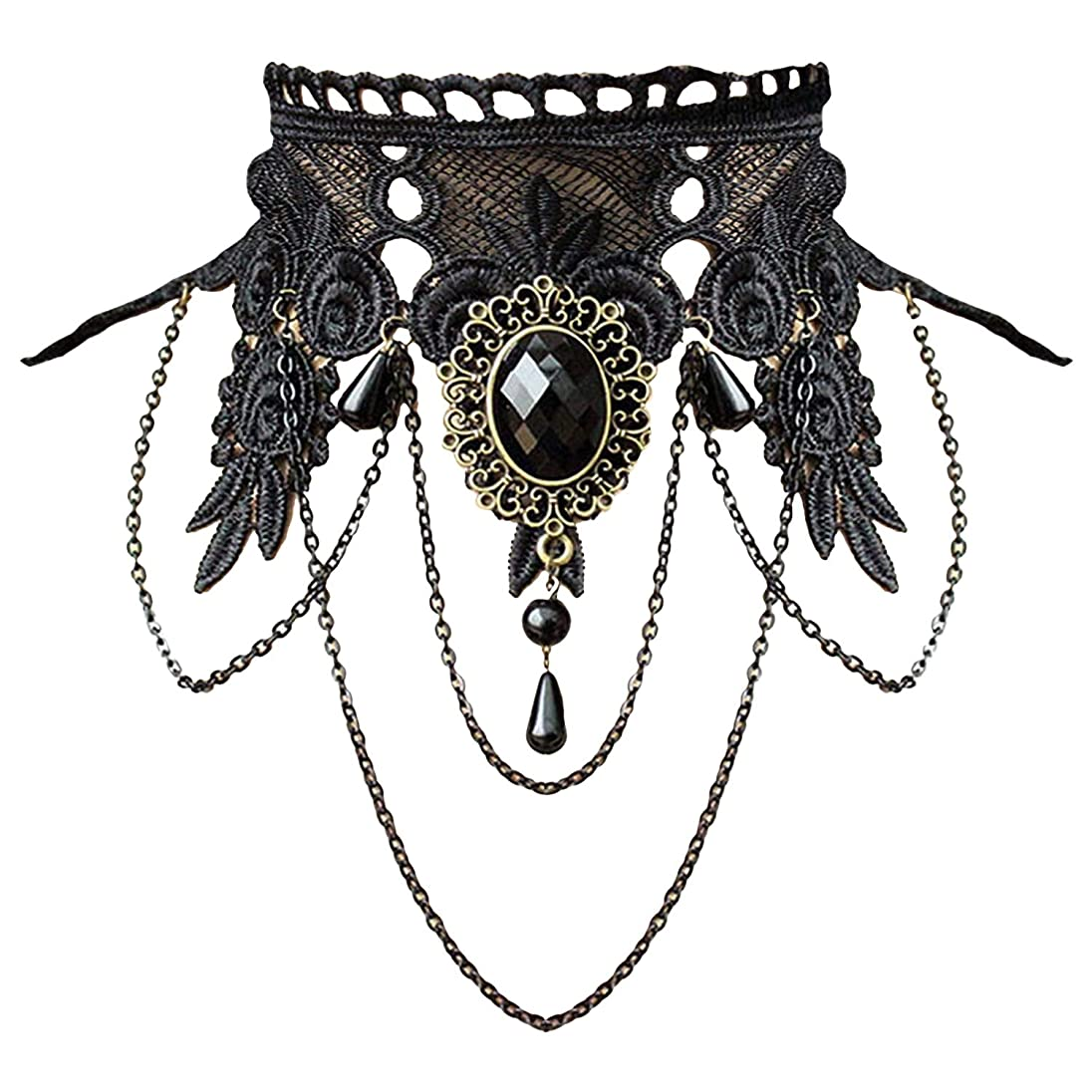 Aniwon Punk Style Wedding Party Black Lace Choker Beads Tassels Chain Pendant Necklace Earring Set for Women