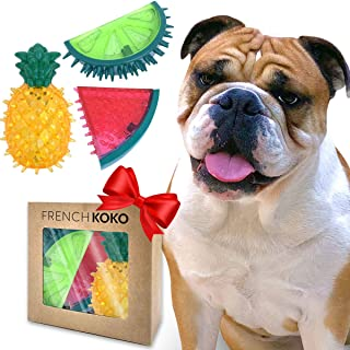 French KOKO 3 Pack Fruit Toys, Squeaky Rubber Dog Toys, Best Gift for Your Doggo, Rubber Dog Ball, Puppy Small Medium Large Dogs, Summer Spike Toys for Dogs, Aggressive Chewers Squeeze Squeak Fruits