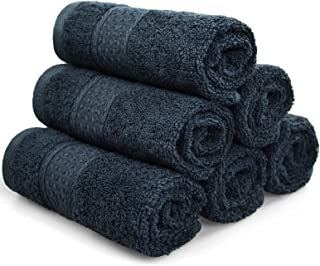 Cleanbear Extra Soft Wash Cloths Washcloths Set (6-Pack, Dark Gray) 13 x 13 Inches, Highly Absorbent Facecloths