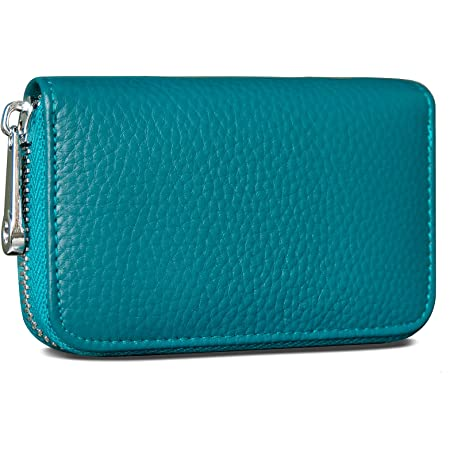 GADIEMKENSD Credit Card Holder RFID Blocking Genuine Leather Mini Credit Card Wallet Purse with Zipper Womens Small id Compact Slim Blocked Zip Accordion Wallets Case for Women Men (Sea Blue)