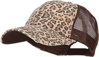 Low Profile Canvas Leopard Print Mesh Trucker Cap, Brown