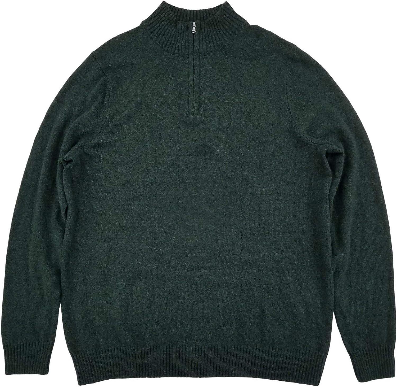 Mens Big & Tall Dark Green Heather Extra Soft Quarter Zip Sweater Pullover