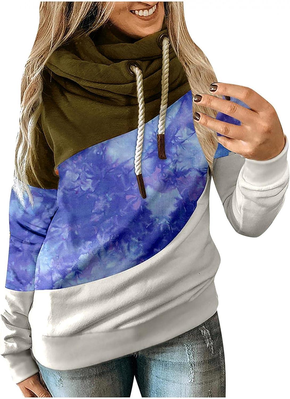 Women Hoodie Color Block Cowl Neck Long Sleeve Sweatshirts Camouflage Casual Fit Drawstring Pullover Hoodies Tops