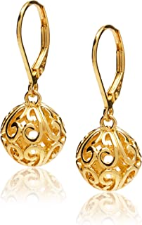 Plated Sterling Silver Filigree Ball Leverback Dangle Earrings