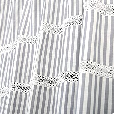 Fabric Shower Curtain, Eastern Heavy Duty Cotton Bathroom Shower Curtains with Lace Trims and Ruffled Bottom, for Spa, Hotel