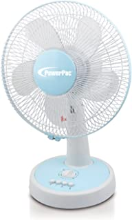 """PowerPac PPTF303 12"""" Desk Fan with Oscillation & Timer"""