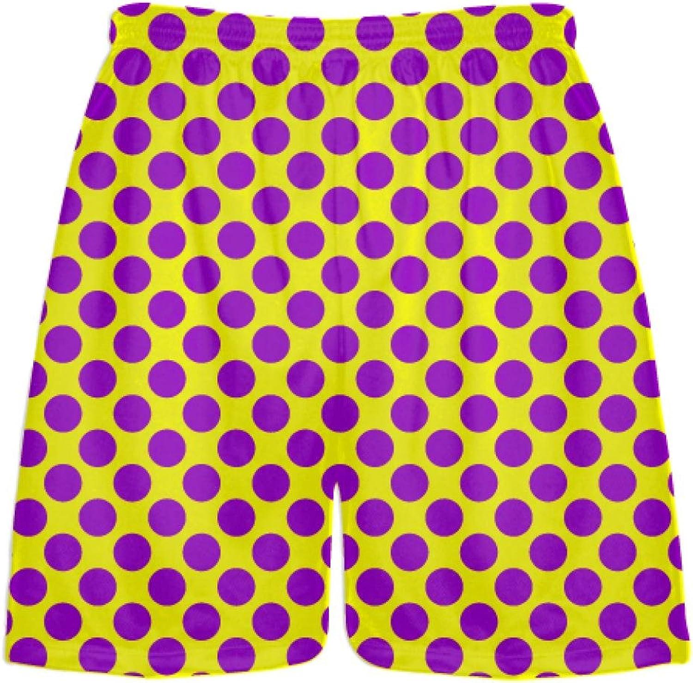 LightningWear Yellow Purple Polka Dot Shorts  Polka Dot Lacrosse Shorts  Athletic Shorts