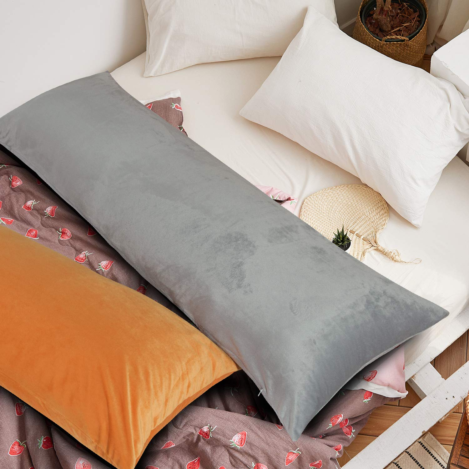 for Adults Pregnant Women Luxury Solid Color Body Pillowcase 20 x 54 Inches Smoke Grey NTBAY Zippered Velvet Body Pillow Cover