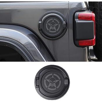 Gas Tank Cap,Non-Fading Easy to Install Fuel Filler Door for Jeep Wrangler JL JLU 4 Door 2 Door 18-19,Aluminum Black